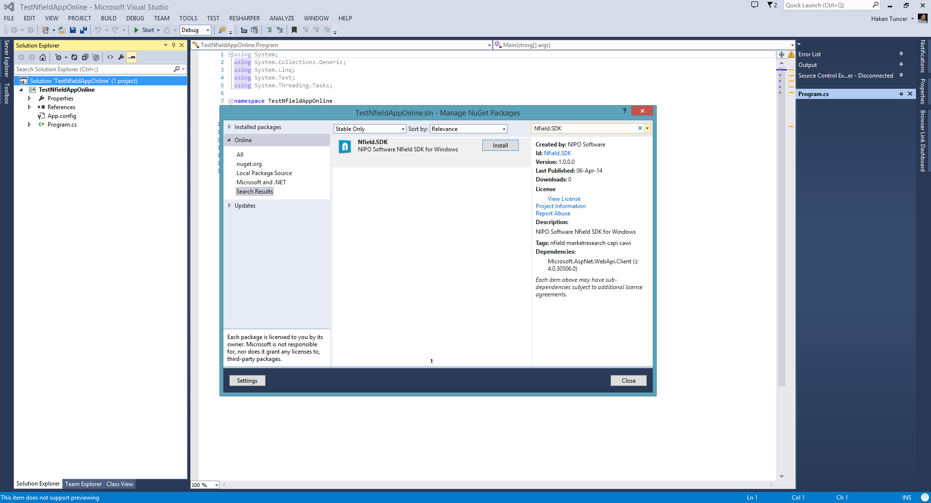 Nfield SDK Online in Nuget
