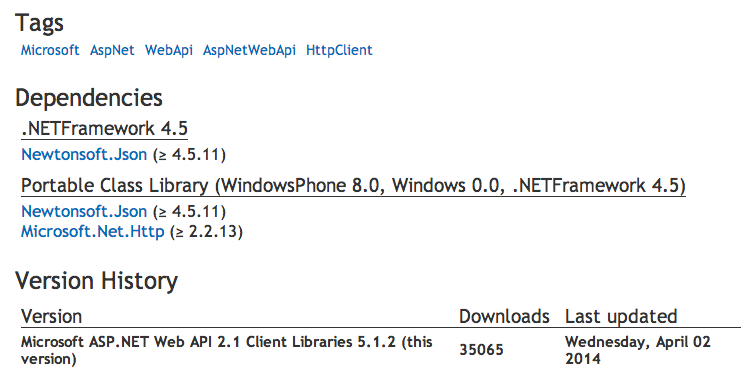 WebApi Client Dependencies on NuGet