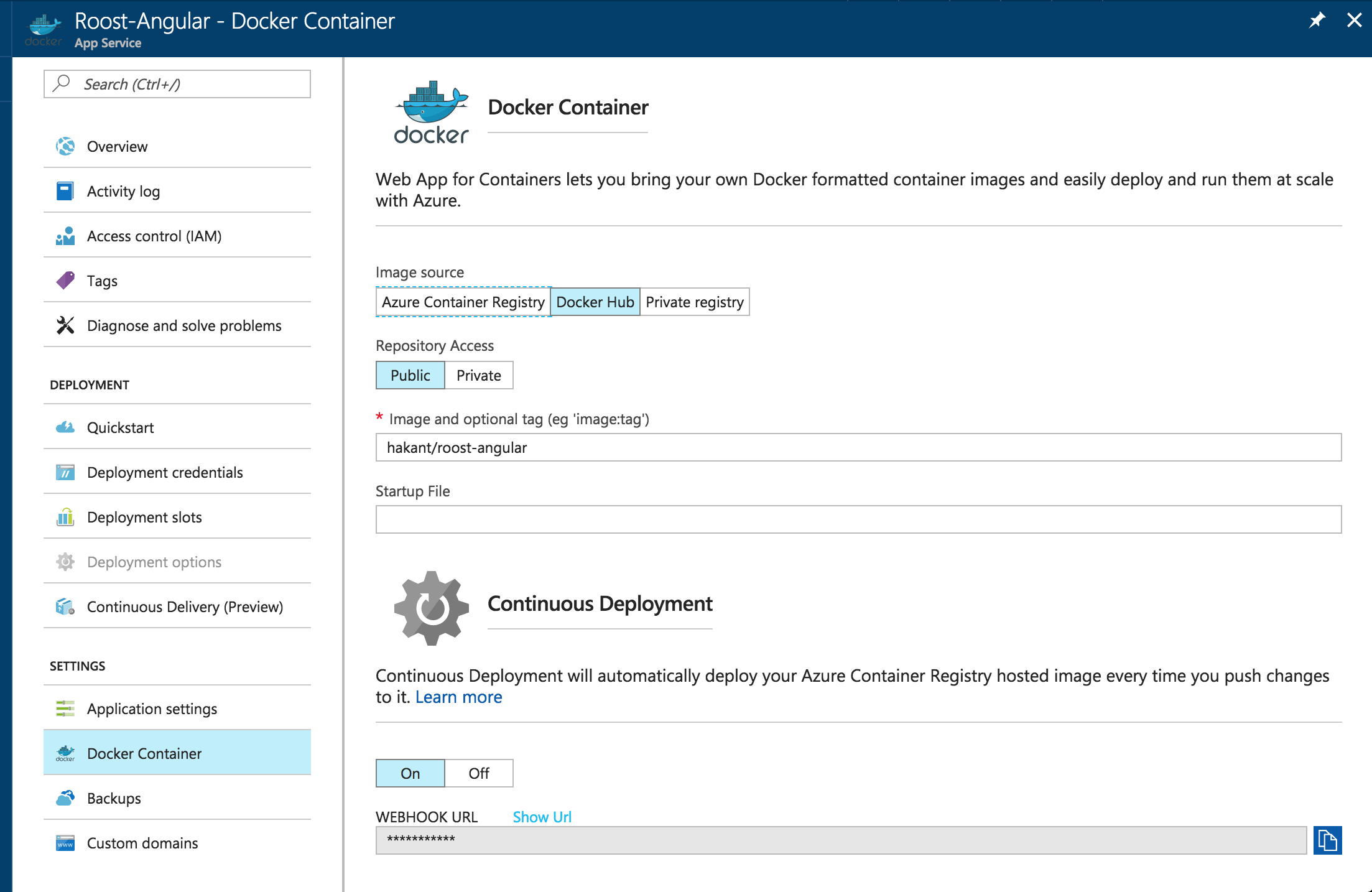 Docker Container Tab Azure