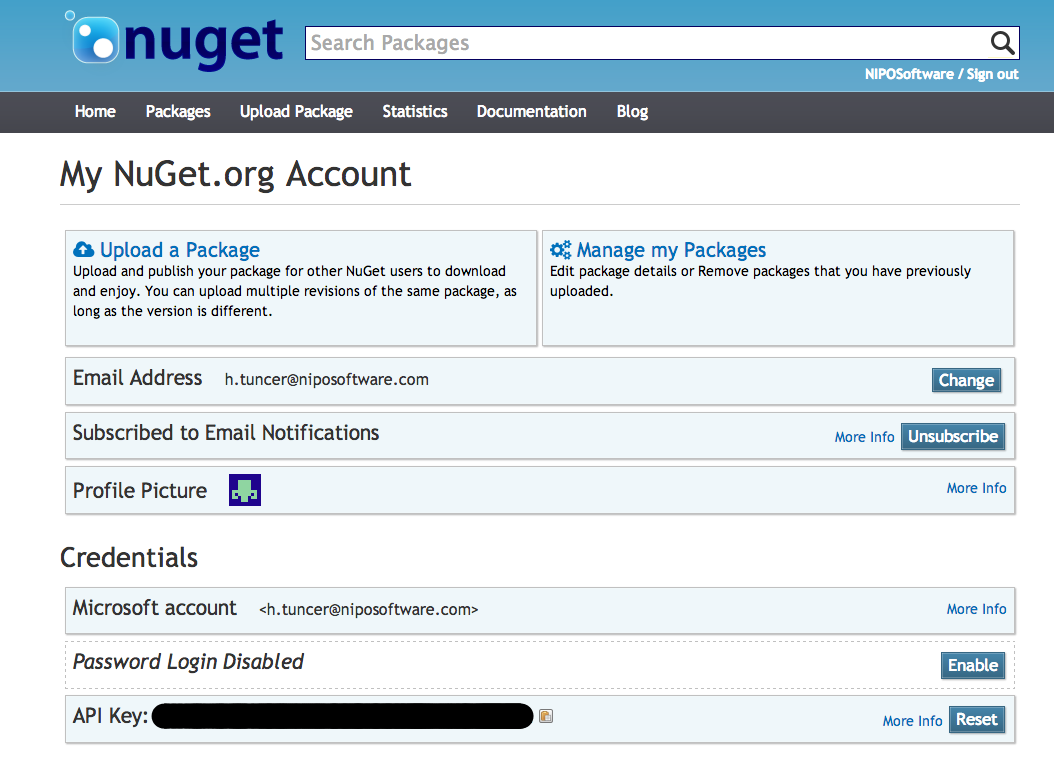 Nipo Software NuGet Account